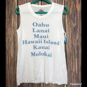 Hawaii White Sleeveless Tank Top Unfinished Edges